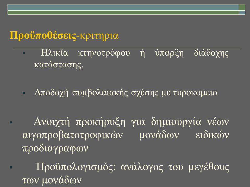 Προϋποθέσεις-κριτηρια  Ηλικία κτηνοτρόφου ή ύπαρξη διάδοχης κατάστασης,  Αποδοχή συμβολαιακής σχέσης με τυροκομειο  Ανοιχτή προκήρυξη για δημιουργί