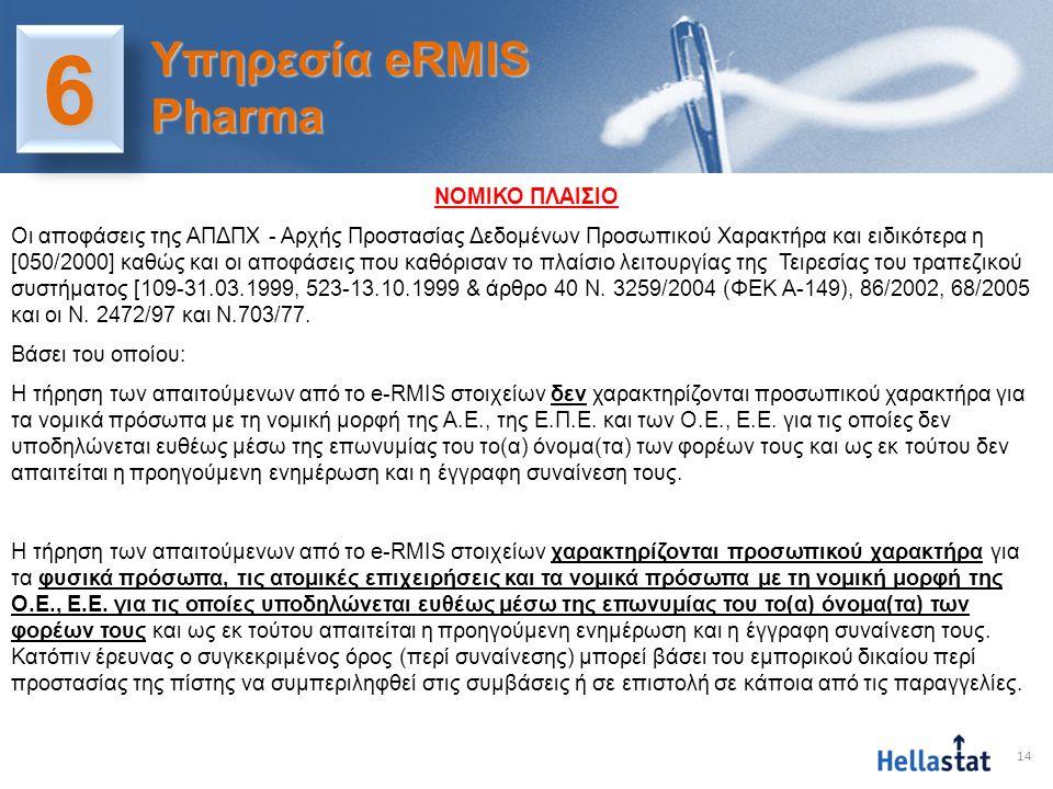 14 66 Υπηρεσία eRMIS Pharma ΝΟΜΙΚΟ ΠΛΑΙΣΙΟ Οι αποφάσεις της ΑΠΔΠΧ - Αρχής Προστασίας Δεδομένων Προσωπικού Χαρακτήρα και ειδικότερα η [050/2000] καθώς
