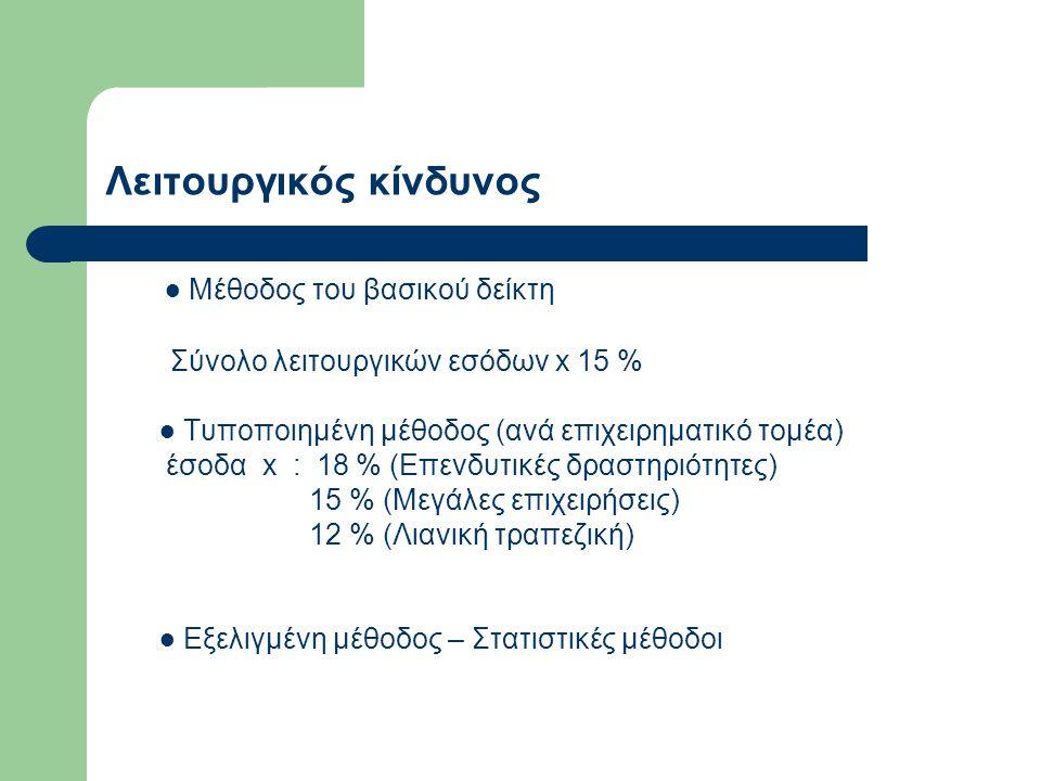 Λειτουργικός κίνδυνος ● Μέθοδος του βασικού δείκτη Σύνολο λειτουργικών εσόδων x 15 % ● Τυποποιημένη μέθοδος (ανά επιχειρηματικό τομέα) έσοδα x : 18 %