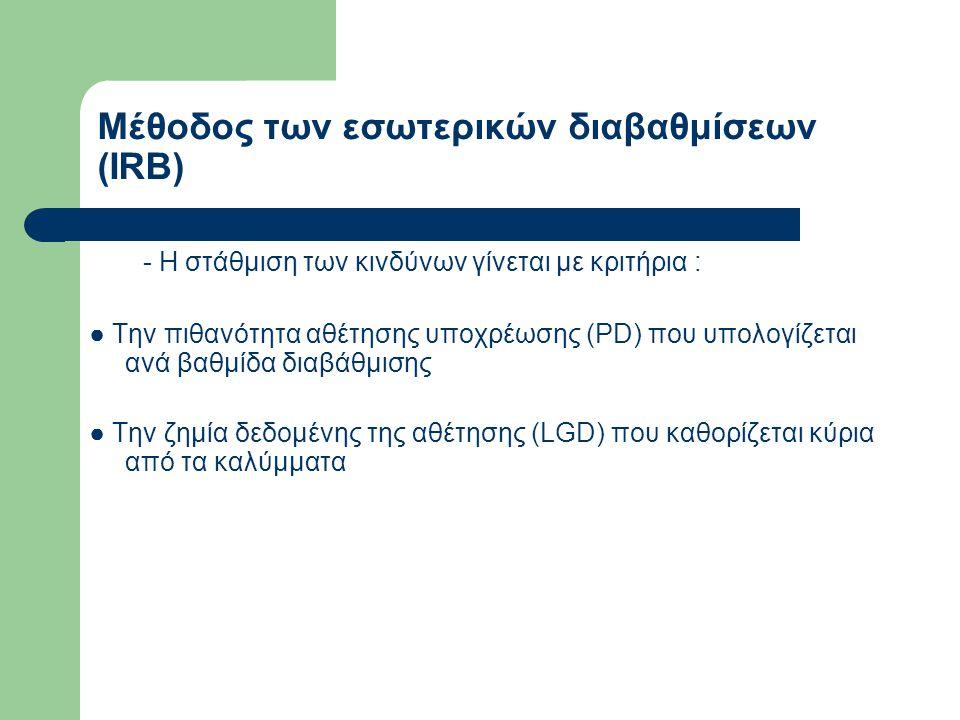Μέθοδος των εσωτερικών διαβαθμίσεων (IRB) - Η στάθμιση των κινδύνων γίνεται με κριτήρια : ● Την πιθανότητα αθέτησης υποχρέωσης (PD) που υπολογίζεται α