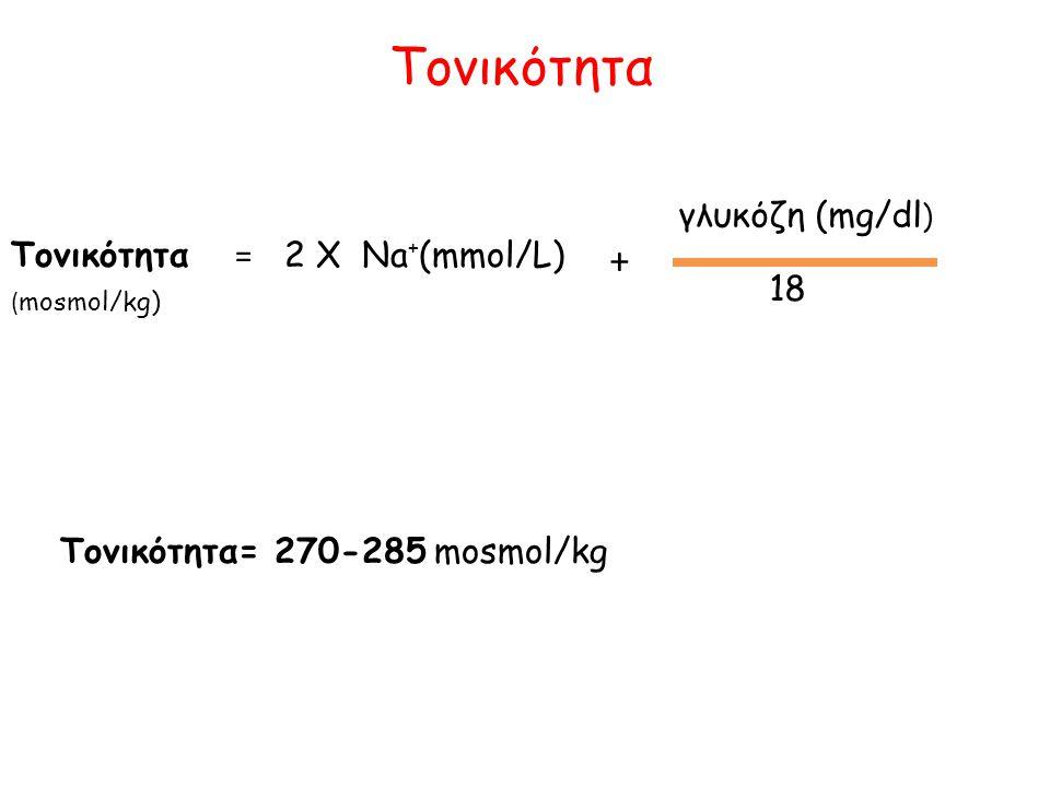 γλυκόζη (mg/dl ) 18 + ( mosmol/kg) Τονικότητα= 270-285 mosmol/kg Τονικότητα = 2 X Na + (mmol/L) Τονικότητα