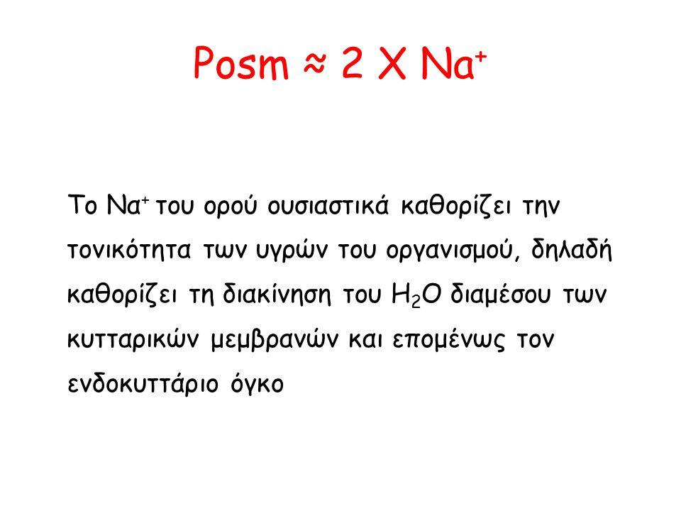 Posm ≈ 2 X Na + Το Να + του ορού ουσιαστικά καθορίζει την τονικότητα των υγρών του οργανισμού, δηλαδή καθορίζει τη διακίνηση του H 2 O διαμέσου των κυ