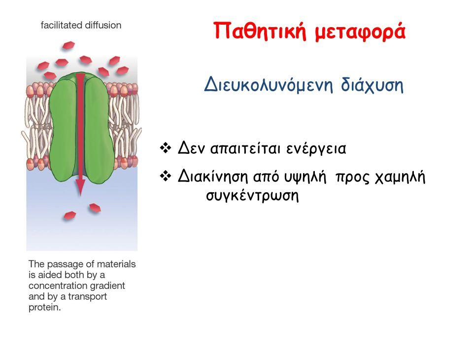 Παθητική μεταφορά Διευκολυνόμενη διάχυση  Δεν απαιτείται ενέργεια  Διακίνηση από υψηλή προς χαμηλή συγκέντρωση