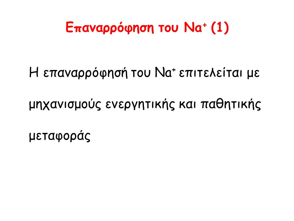 Eπαναρρόφηση του Νa + (1) Η επαναρρόφησή του Νa + επιτελείται με μηχανισμούς ενεργητικής και παθητικής μεταφοράς