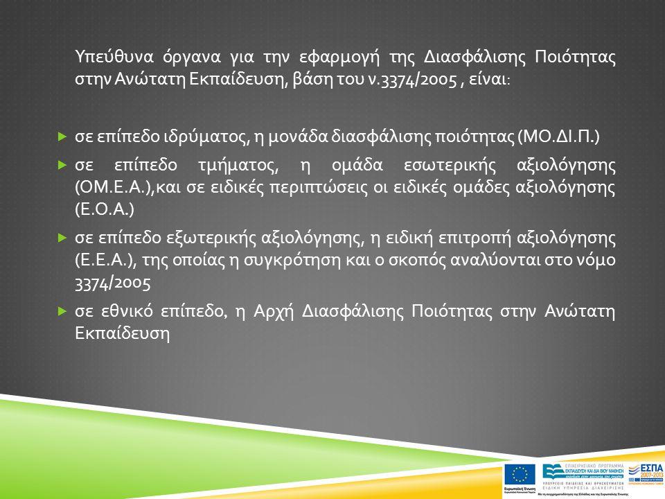 Υπεύθυνα όργανα για την εφαρμογή της Διασφάλισης Ποιότητας στην Ανώτατη Εκπαίδευση, βάση του ν.3374/2005, είναι :  σε επίπεδο ιδρύματος, η μονάδα δια