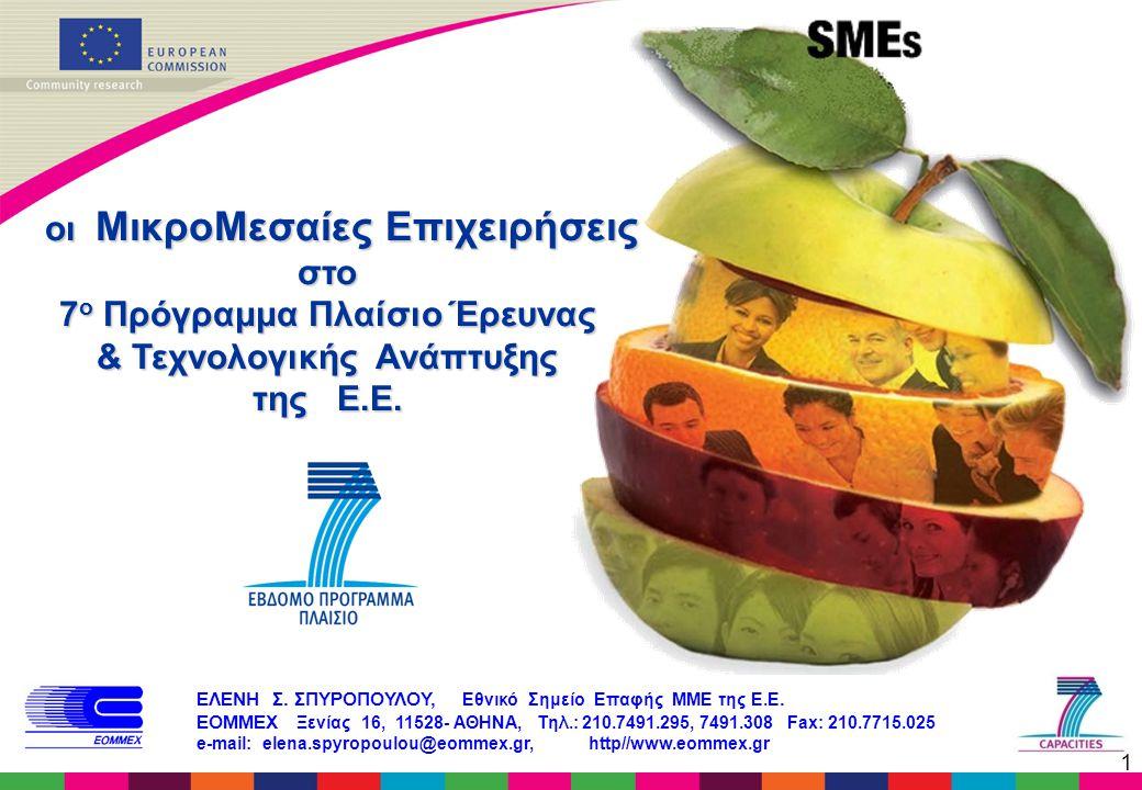 1 οι ΜικροΜεσαίες Επιχειρήσεις οι ΜικροΜεσαίες Επιχειρήσειςστο 7 ο Πρόγραμμα Πλαίσιο Έρευνας & Τεχνολογικής Ανάπτυξης της Ε.Ε. ΕΛΕΝΗ Σ. ΣΠΥΡΟΠΟΥΛΟΥ, Ε