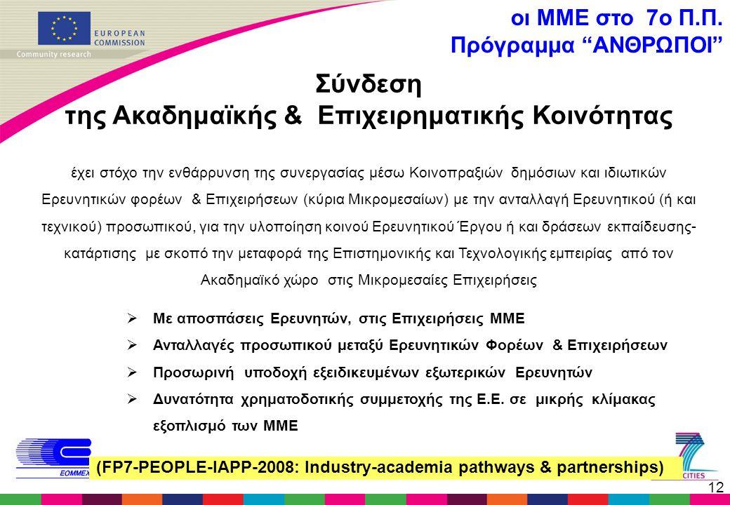12 Σύνδεση της Ακαδημαϊκής & Επιχειρηματικής Κοινότητας έχει στόχο την ενθάρρυνση της συνεργασίας μέσω Κοινοπραξιών δημόσιων και ιδιωτικών Ερευνητικών