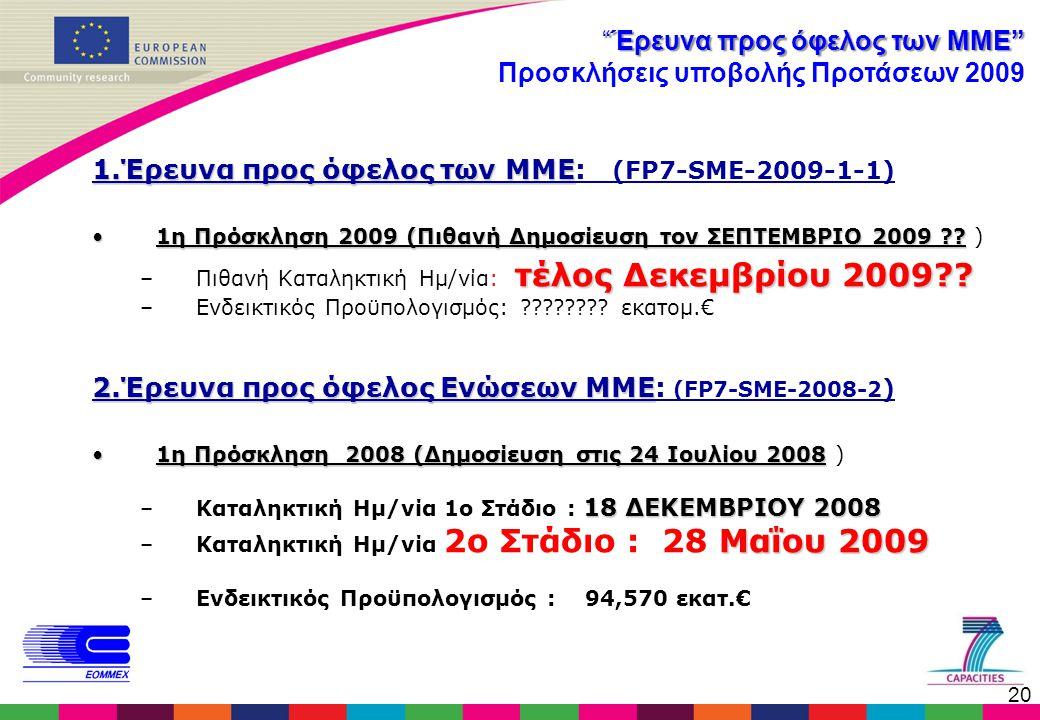 """20 """"Έρευνα προς όφελος των ΜΜΕ"""" Προσκλήσεις υποβολής Προτάσεων 2009 1.Έρευνα προς όφελος των ΜΜΕ 1.Έρευνα προς όφελος των ΜΜΕ: (FP7-SME-2009-1-1) •1η"""