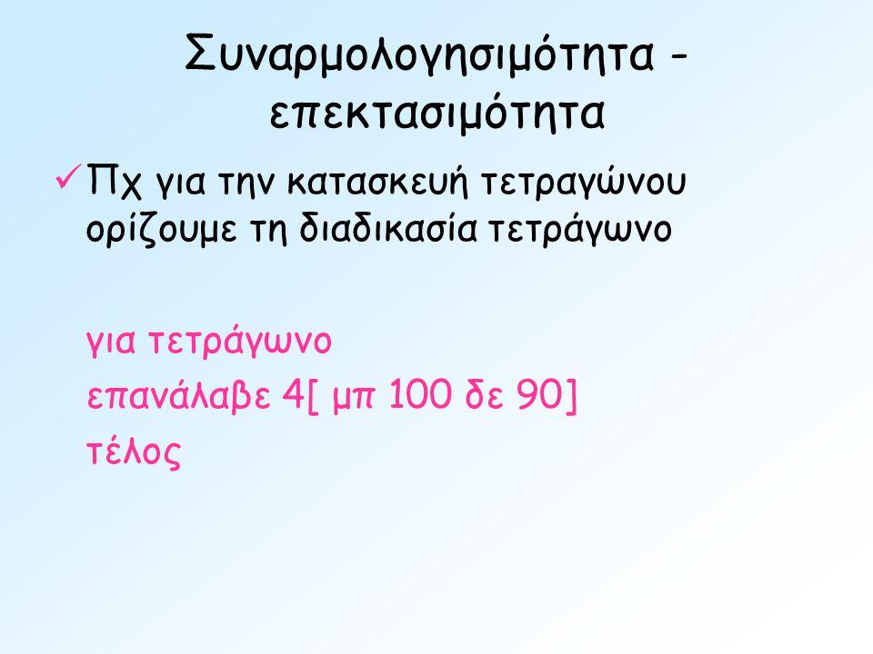 Συναρμολογησιμότητα - επεκτασιμότητα  Πχ για την κατασκευή τετραγώνου ορίζουμε τη διαδικασία τετράγωνο για τετράγωνο επανάλαβε 4[ μπ 100 δε 90] τέλος