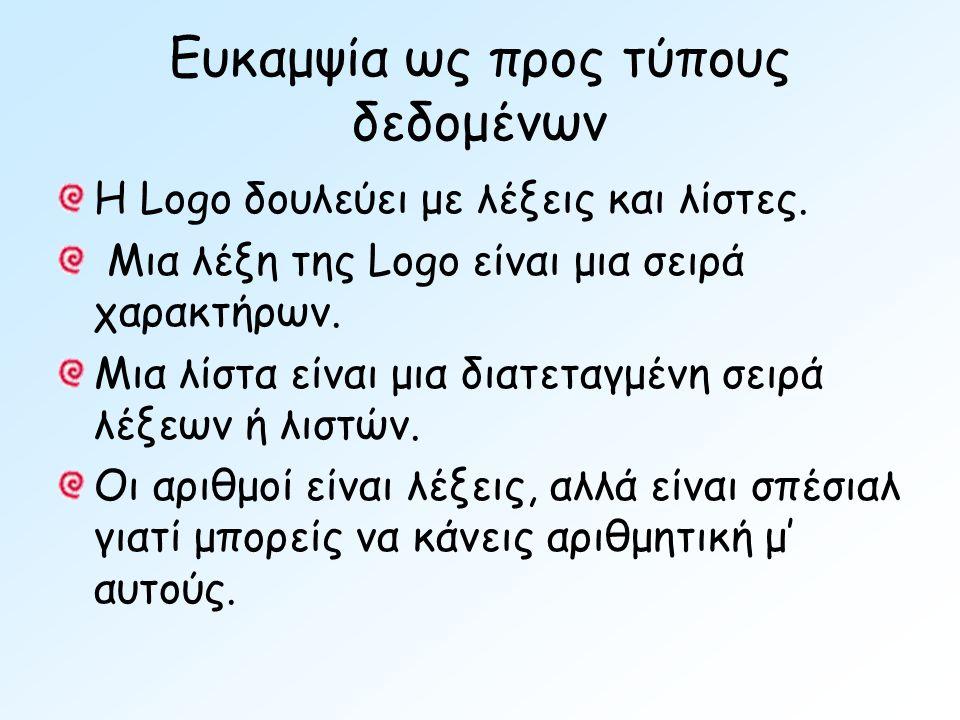 Ευκαμψία ως προς τύπους δεδομένων Η Logo δουλεύει με λέξεις και λίστες.