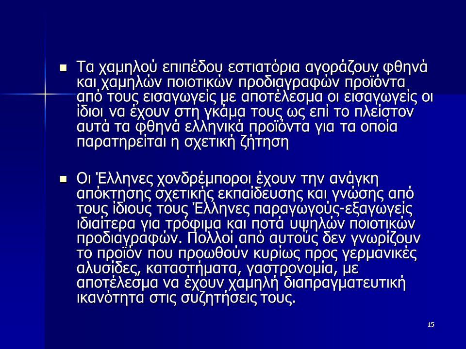 15  Τα χαμηλού επιπέδου εστιατόρια αγοράζουν φθηνά και χαμηλών ποιοτικών προδιαγραφών προϊόντα από τους εισαγωγείς με αποτέλεσμα οι εισαγωγείς οι ίδιοι να έχουν στη γκάμα τους ως επί το πλείστον αυτά τα φθηνά ελληνικά προϊόντα για τα οποία παρατηρείται η σχετική ζήτηση  Οι Έλληνες χονδρέμποροι έχουν την ανάγκη απόκτησης σχετικής εκπαίδευσης και γνώσης από τους ίδιους τους Έλληνες παραγωγούς-εξαγωγείς ιδιαίτερα για τρόφιμα και ποτά υψηλών ποιοτικών προδιαγραφών.