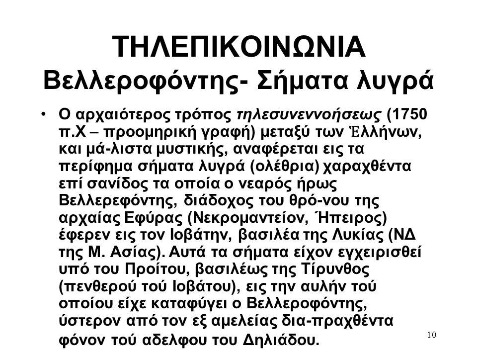 10 ΤΗΛΕΠΙΚΟΙΝΩΝΙΑ Βελλεροφόντης- Σήματα λυγρά •Ο αρχαιότερος τρόπος τηλεσυνεννοήσεως (1750 π.Χ – προομηρική γραφή) μεταξύ των Ἑ λλήνων, και μά-λιστα μ