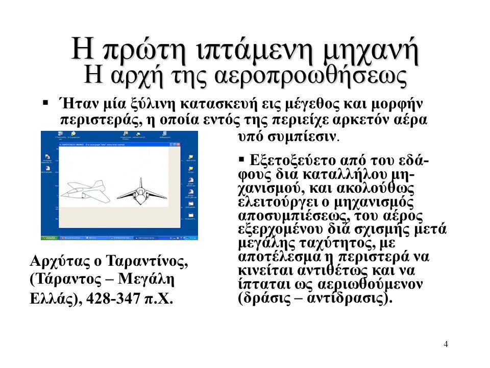 4 Η πρώτη ιπτάμενη μηχανή Η αρχή της αεροπροωθήσεως Αρχύτας ο Ταραντίνος, (Τάραντος – Μεγάλη Ελλάς), 428-347 π.Χ.  Ήταν μία ξύλινη κατασκευή εις μέγε