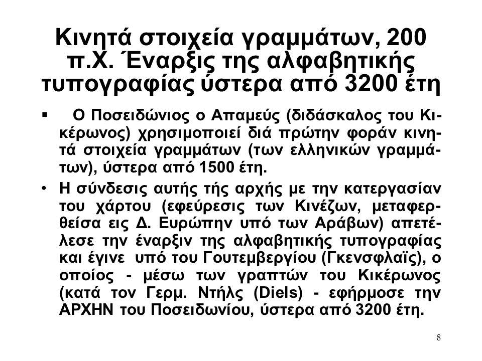 8 Κινητά στοιχεία γραμμάτων, 200 π.Χ. Έναρξις της αλφαβητικής τυπογραφίας ύστερα από 3200 έτη  Ο Ποσειδώνιος ο Απαμεύς (διδάσκαλος του Κι- κέρωνος) χ
