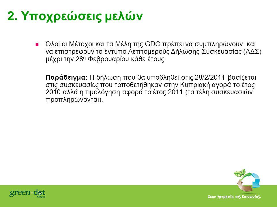 2. Υποχρεώσεις μελών   Όλοι οι Μέτοχοι και τα Μέλη της GDC πρέπει να συμπληρώνουν και να επιστρέφουν το έντυπο Λεπτομερούς Δήλωσης Συσκευασίας (ΛΔΣ)