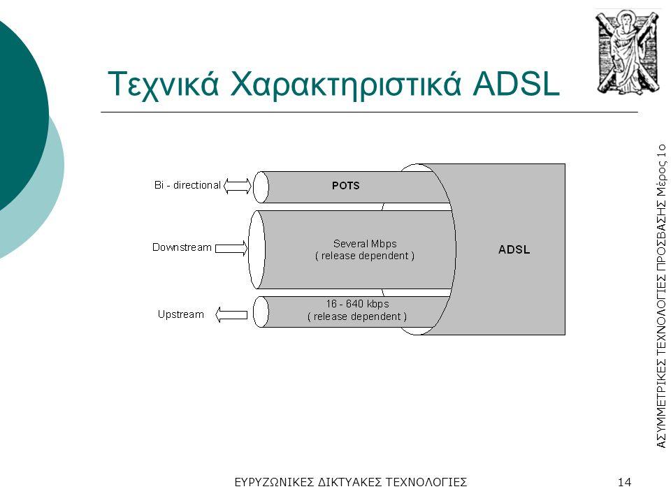 ΑΣΥΜΜΕΤΡΙΚΕΣ ΤΕΧΝΟΛΟΓΙΕΣ ΠΡΟΣΒΑΣΗΣ Μέρος 1ο ΕΥΡΥΖΩΝΙΚΕΣ ΔΙΚΤΥΑΚΕΣ ΤΕΧΝΟΛΟΓΙΕΣ14 Τεχνικά Χαρακτηριστικά ADSL