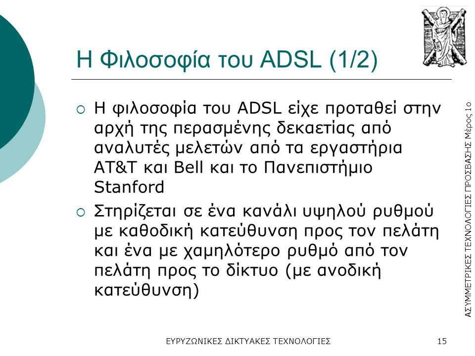 ΑΣΥΜΜΕΤΡΙΚΕΣ ΤΕΧΝΟΛΟΓΙΕΣ ΠΡΟΣΒΑΣΗΣ Μέρος 1ο ΕΥΡΥΖΩΝΙΚΕΣ ΔΙΚΤΥΑΚΕΣ ΤΕΧΝΟΛΟΓΙΕΣ15 Η Φιλοσοφία του ADSL (1/2)  Η φιλοσοφία του ADSL είχε προταθεί στην αρχή της περασμένης δεκαετίας από αναλυτές μελετών από τα εργαστήρια ΑΤ&T και Bell και το Πανεπιστήμιο Stanford  Στηρίζεται σε ένα κανάλι υψηλού ρυθμού με καθοδική κατεύθυνση προς τον πελάτη και ένα με χαμηλότερο ρυθμό από τον πελάτη προς το δίκτυο (με ανοδική κατεύθυνση)