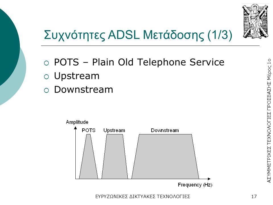 ΑΣΥΜΜΕΤΡΙΚΕΣ ΤΕΧΝΟΛΟΓΙΕΣ ΠΡΟΣΒΑΣΗΣ Μέρος 1ο ΕΥΡΥΖΩΝΙΚΕΣ ΔΙΚΤΥΑΚΕΣ ΤΕΧΝΟΛΟΓΙΕΣ17 Συχνότητες ADSL Μετάδοσης (1/3)  POTS – Plain Old Telephone Service  Upstream  Downstream
