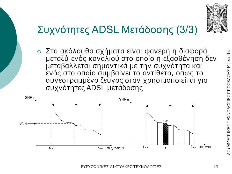 ΑΣΥΜΜΕΤΡΙΚΕΣ ΤΕΧΝΟΛΟΓΙΕΣ ΠΡΟΣΒΑΣΗΣ Μέρος 1ο ΕΥΡΥΖΩΝΙΚΕΣ ΔΙΚΤΥΑΚΕΣ ΤΕΧΝΟΛΟΓΙΕΣ19 Συχνότητες ADSL Μετάδοσης (3/3)  Στα ακόλουθα σχήματα είναι φανερή η διαφορά μεταξύ ενός καναλιού στο οποίο η εξασθένηση δεν μεταβάλλεται σημαντικά με την συχνότητα και ενός στο οποίο συμβαίνει το αντίθετο, όπως το συνεστραμμένο ζεύγος όταν χρησιμοποιείται για συχνότητες ADSL μετάδοσης
