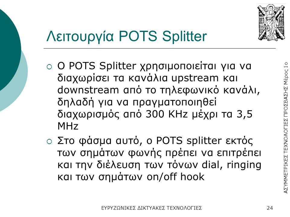 ΑΣΥΜΜΕΤΡΙΚΕΣ ΤΕΧΝΟΛΟΓΙΕΣ ΠΡΟΣΒΑΣΗΣ Μέρος 1ο ΕΥΡΥΖΩΝΙΚΕΣ ΔΙΚΤΥΑΚΕΣ ΤΕΧΝΟΛΟΓΙΕΣ24 Λειτουργία POTS Splitter  Ο POTS Splitter χρησιμοποιείται για να διαχωρίσει τα κανάλια upstream και downstream από το τηλεφωνικό κανάλι, δηλαδή για να πραγματοποιηθεί διαχωρισμός από 300 KHz μέχρι τα 3,5 MHz  Στο φάσμα αυτό, ο POTS splitter εκτός των σημάτων φωνής πρέπει να επιτρέπει και την διέλευση των τόνων dial, ringing και των σημάτων on/off hook