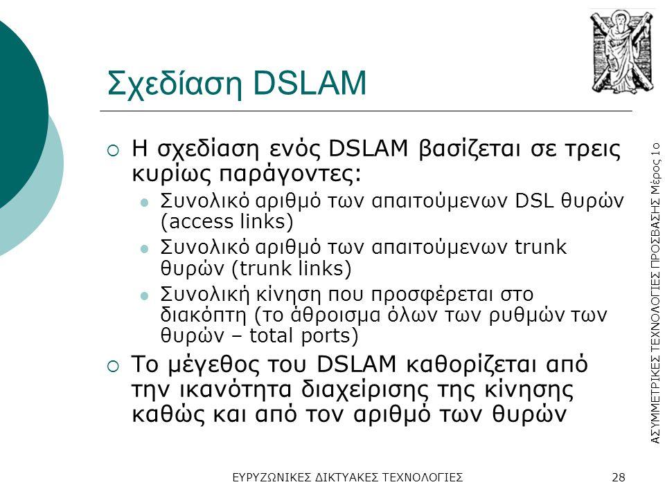 ΑΣΥΜΜΕΤΡΙΚΕΣ ΤΕΧΝΟΛΟΓΙΕΣ ΠΡΟΣΒΑΣΗΣ Μέρος 1ο ΕΥΡΥΖΩΝΙΚΕΣ ΔΙΚΤΥΑΚΕΣ ΤΕΧΝΟΛΟΓΙΕΣ28 Σχεδίαση DSLAM  Η σχεδίαση ενός DSLAM βασίζεται σε τρεις κυρίως παράγοντες:  Συνολικό αριθμό των απαιτούμενων DSL θυρών (access links)  Συνολικό αριθμό των απαιτούμενων trunk θυρών (trunk links)  Συνολική κίνηση που προσφέρεται στο διακόπτη (το άθροισμα όλων των ρυθμών των θυρών – total ports)  Το μέγεθος του DSLAM καθορίζεται από την ικανότητα διαχείρισης της κίνησης καθώς και από τον αριθμό των θυρών