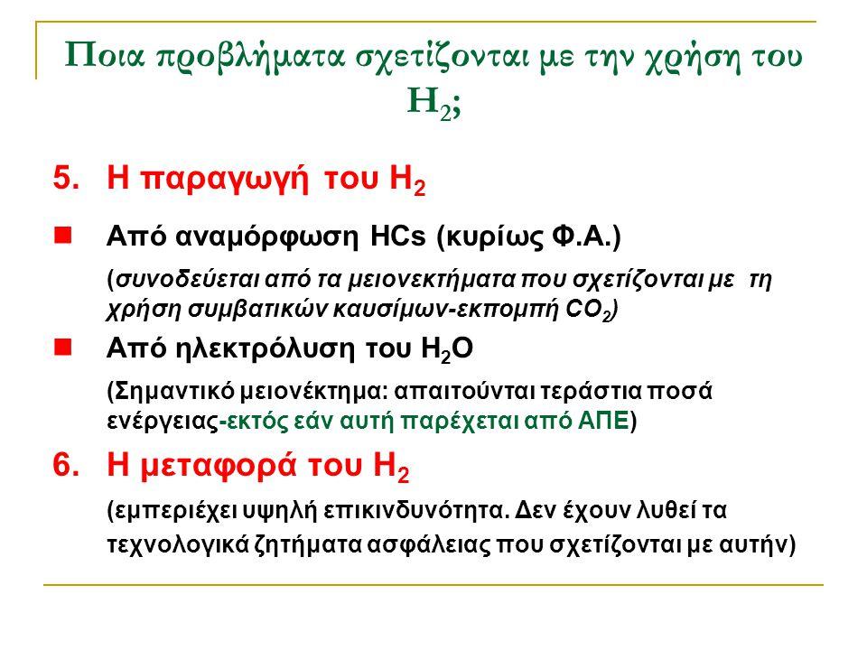 5.Η παραγωγή του H 2  Από αναμόρφωση HCs (κυρίως Φ.Α.) (συνοδεύεται από τα μειονεκτήματα που σχετίζονται με τη χρήση συμβατικών καυσίμων-εκπομπή CO 2