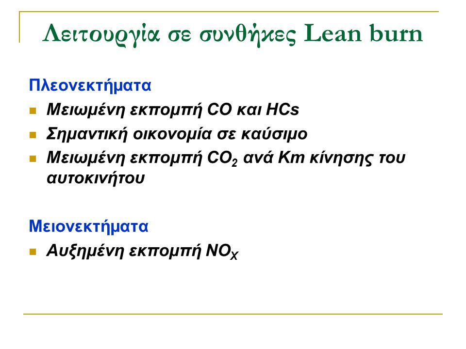 Λειτουργία σε συνθήκες Lean burn Πλεονεκτήματα  Μειωμένη εκπομπή CO και HCs  Σημαντική οικονομία σε καύσιμο  Μειωμένη εκπομπή CO 2 ανά Km κίνησης τ
