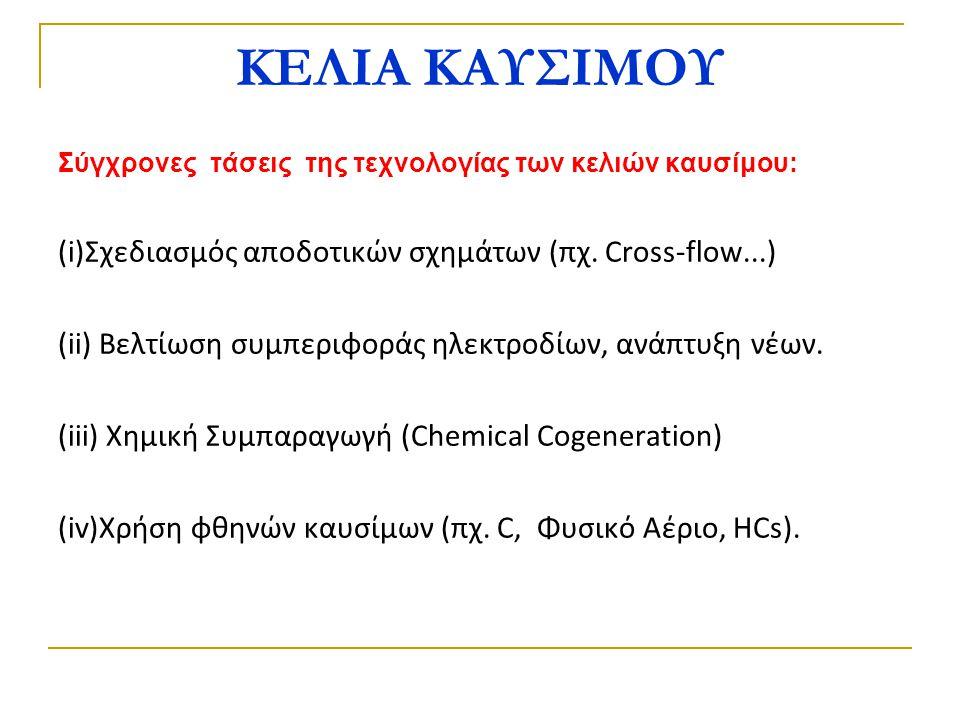 ΚΕΛΙΑ ΚΑΥΣΙΜΟΥ Σύγχρονες τάσεις της τεχνολογίας των κελιών καυσίμου: (i)Σχεδιασμός αποδοτικών σχημάτων (πχ. Cross-flow...) (ii) Βελτίωση συμπεριφοράς