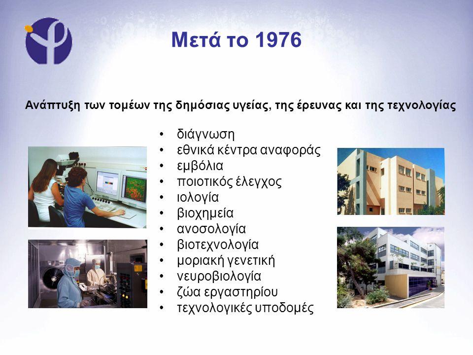 Μετά το 1976 •διάγνωση •εθνικά κέντρα αναφοράς •εμβόλια •ποιοτικός έλεγχος •ιολογία •βιοχημεία •ανοσολογία •βιοτεχνολογία •μοριακή γενετική •νευροβιολογία •ζώα εργαστηρίου •τεχνολογικές υποδομές Ανάπτυξη των τομέων της δημόσιας υγείας, της έρευνας και της τεχνολογίας