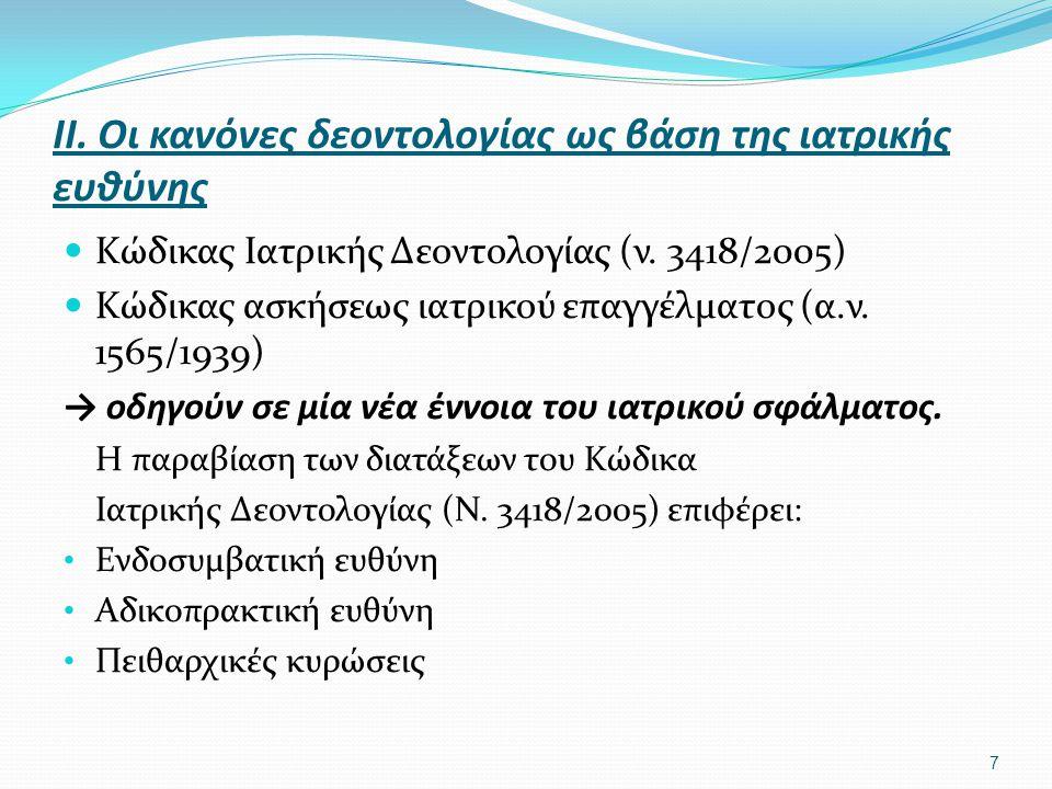ΙΙ. Οι κανόνες δεοντολογίας ως βάση της ιατρικής ευθύνης  Κώδικας Ιατρικής Δεοντολογίας (ν. 3418/2005)  Κώδικας ασκήσεως ιατρικού επαγγέλματος (α.ν.