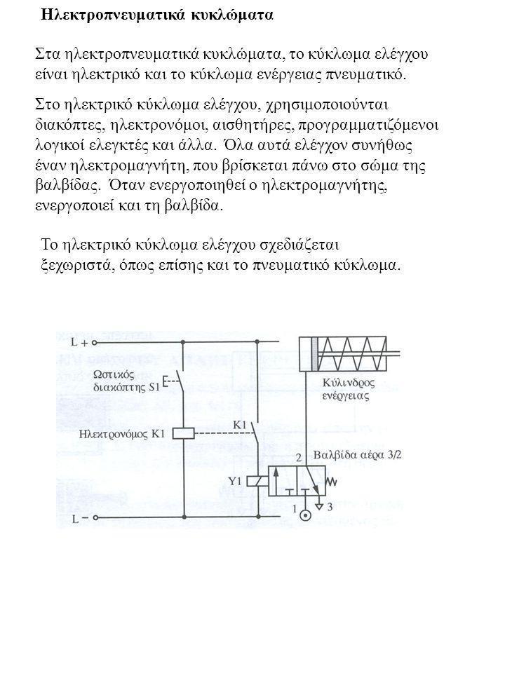 Ηλεκτροπνευματικά κυκλώματα Στα ηλεκτροπνευματικά κυκλώματα, το κύκλωμα ελέγχου είναι ηλεκτρικό και το κύκλωμα ενέργειας πνευματικό. Στο ηλεκτρικό κύκ