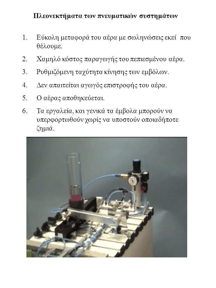 Πλεονεκτήματα των πνευματικών συστημάτων 1.Εύκολη μεταφορά του αέρα με σωληνώσεις εκεί που θέλουμε. 2.Χαμηλό κόστος παραγωγής του πεπιεσμένου αέρα. 3.