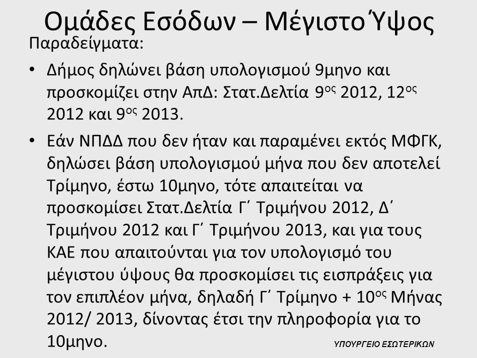 Ομάδες Εσόδων – Μέγιστο Ύψος Παραδείγματα: • Δήμος δηλώνει βάση υπολογισμού 9μηνο και προσκομίζει στην ΑπΔ: Στατ.Δελτία 9 ος 2012, 12 ος 2012 και 9 ος
