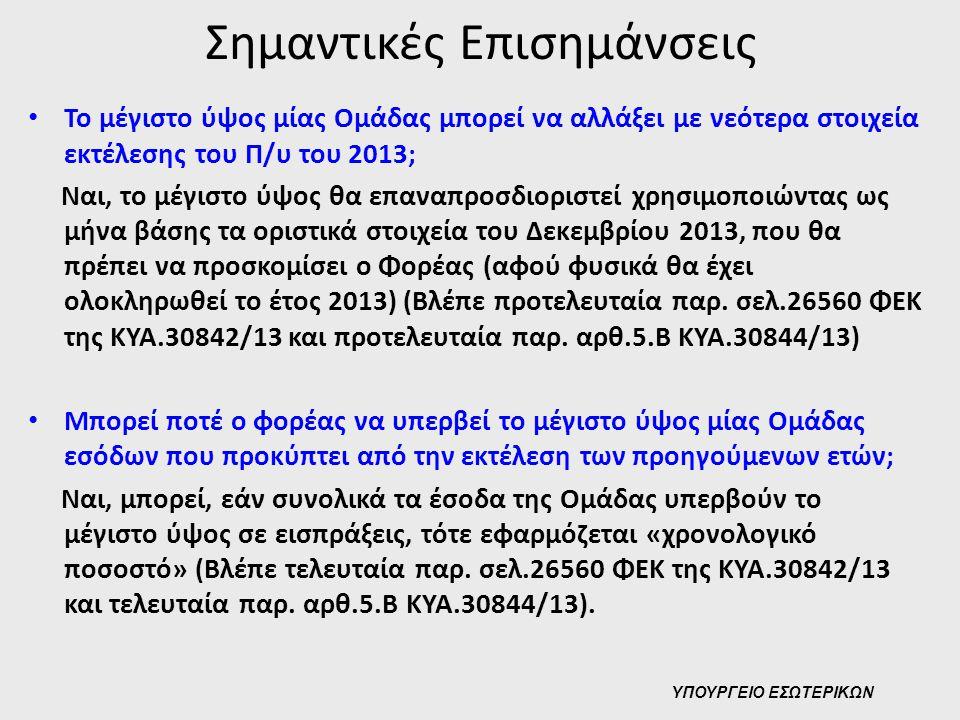 Σημαντικές Επισημάνσεις • Το μέγιστο ύψος μίας Ομάδας μπορεί να αλλάξει με νεότερα στοιχεία εκτέλεσης του Π/υ του 2013; Ναι, το μέγιστο ύψος θα επαναπ