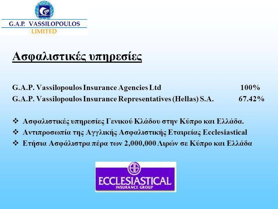 Ασφαλιστικές υπηρεσίες G.A.P. Vassilopoulos Insurance Agencies Ltd 100% G.A.P. Vassilopoulos Insurance Representatives (Hellas) S.A. 67.42%  Ασφαλιστ