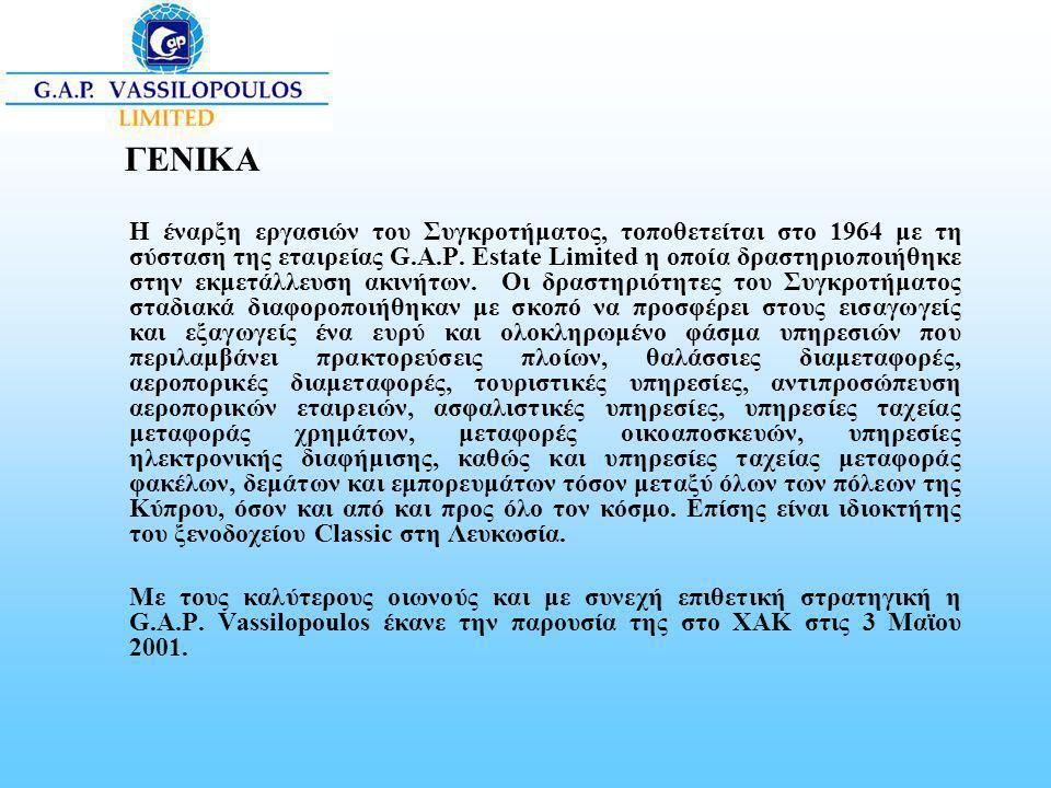 ΓΕΝΙΚΑ Η έναρξη εργασιών του Συγκροτήματος, τοποθετείται στο 1964 με τη σύσταση της εταιρείας G.A.P. Estate Limited η οποία δραστηριοποιήθηκε στην εκμ