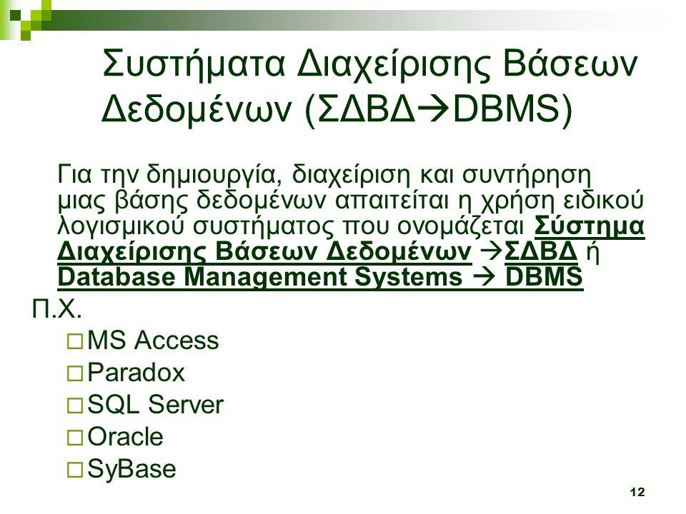 12 Συστήματα Διαχείρισης Βάσεων Δεδομένων (ΣΔΒΔ  DBMS) Για την δημιουργία, διαχείριση και συντήρηση μιας βάσης δεδομένων απαιτείται η χρήση ειδικού λογισμικού συστήματος που ονομάζεται Σύστημα Διαχείρισης Βάσεων Δεδομένων  ΣΔΒΔ ή Database Management Systems  DBMS Π.Χ.