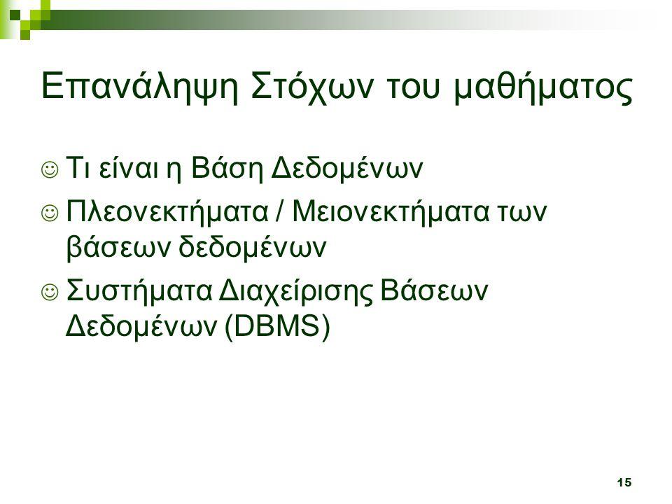 15 Επανάληψη Στόχων του μαθήματος  Τι είναι η Βάση Δεδομένων  Πλεονεκτήματα / Μειονεκτήματα των βάσεων δεδομένων  Συστήματα Διαχείρισης Βάσεων Δεδομένων (DBMS)