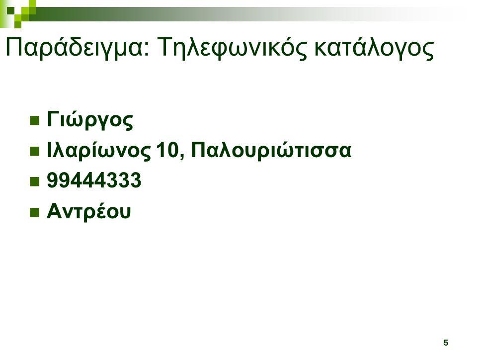 5 Παράδειγμα: Τηλεφωνικός κατάλογος  Γιώργος  Ιλαρίωνος 10, Παλουριώτισσα  99444333  Αντρέου