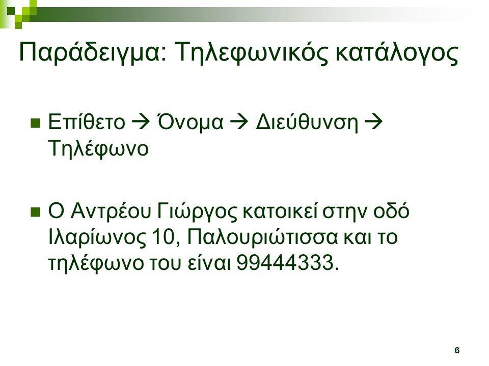 6  Επίθετο  Όνομα  Διεύθυνση  Τηλέφωνο  Ο Αντρέου Γιώργος κατοικεί στην οδό Ιλαρίωνος 10, Παλουριώτισσα και το τηλέφωνο του είναι 99444333. Παράδ