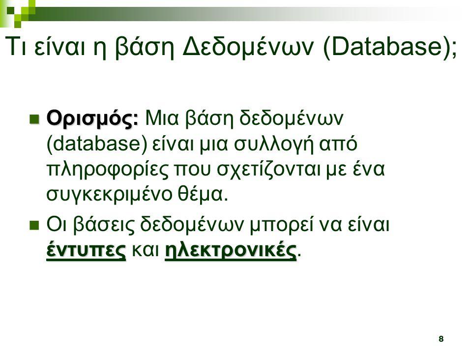 8 Τι είναι η βάση Δεδομένων (Database);  Ορισμός:  Ορισμός: Μια βάση δεδομένων (database) είναι μια συλλογή από πληροφορίες που σχετίζονται με ένα συγκεκριμένο θέμα.