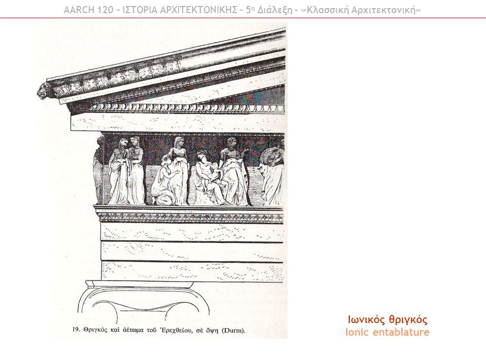 Ιωνικός θριγκός Ionic entablature AARCH 120 – ΙΣΤΟΡΙΑ ΑΡΧΙΤΕΚΤΟΝΙΚΗΣ – 5 η Διάλεξη – «Κλασσική Αρχιτεκτονική»