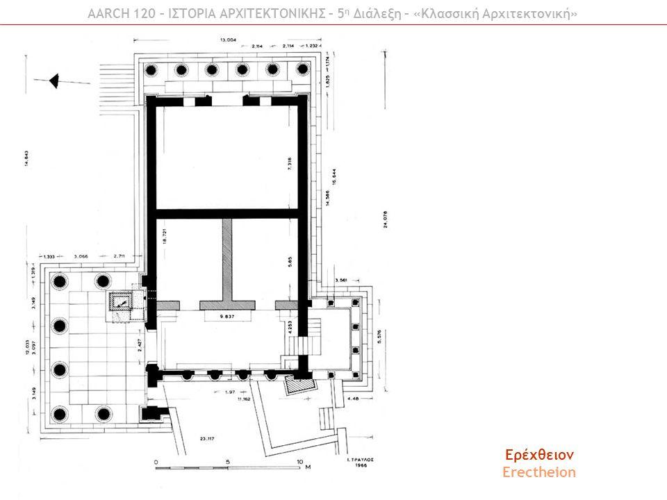Ερέχθειον Erectheion AARCH 120 – ΙΣΤΟΡΙΑ ΑΡΧΙΤΕΚΤΟΝΙΚΗΣ – 5 η Διάλεξη – «Κλασσική Αρχιτεκτονική»