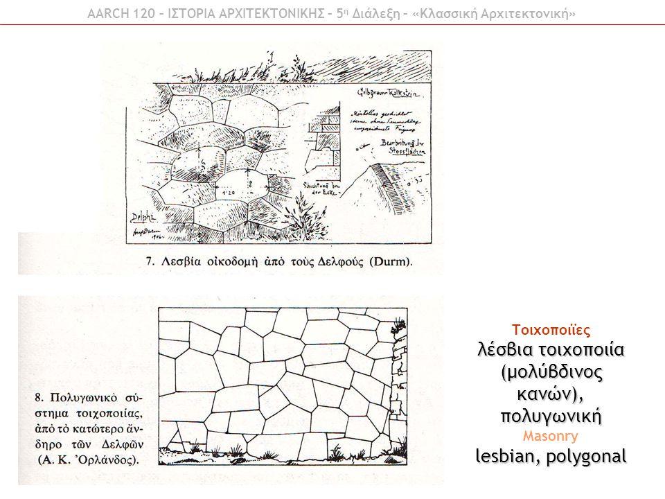 Τοιχοποιϊες λέσβια τοιχοποιία (μολύβδινος κανών), πολυγωνική Masonry lesbian, polygonal AARCH 120 – ΙΣΤΟΡΙΑ ΑΡΧΙΤΕΚΤΟΝΙΚΗΣ – 5 η Διάλεξη – «Κλασσική Α