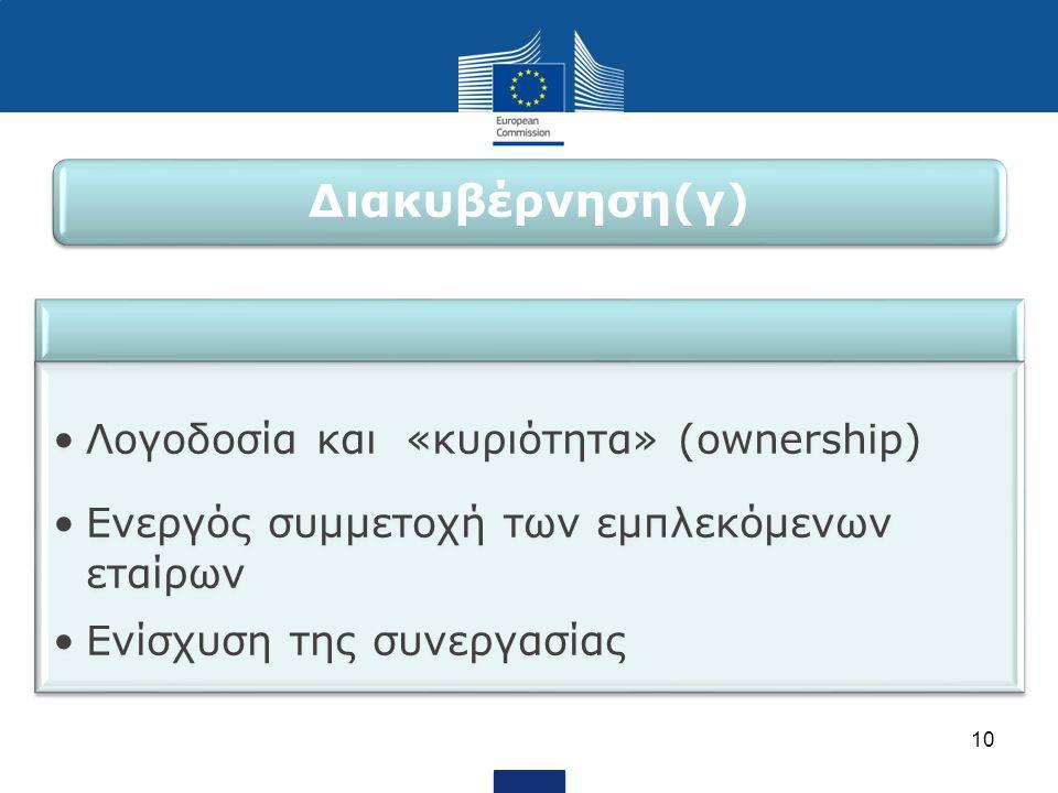 •Λογοδοσία και «κυριότητα» (ownership) •Ενεργός συμμετοχή των εμπλεκόμενων εταίρων •Ενίσχυση της συνεργασίας 10 Διακυβέρνηση(γ)