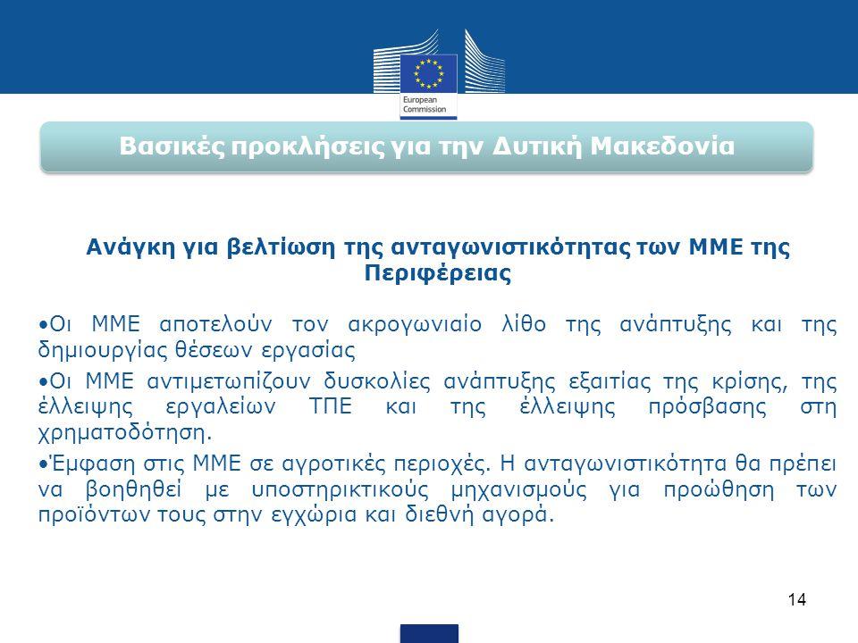 Βασικές προκλήσεις για την Δυτική Μακεδονία Ανάγκη για βελτίωση της ανταγωνιστικότητας των ΜΜΕ της Περιφέρειας •Οι ΜΜΕ αποτελούν τον ακρογωνιαίο λίθο