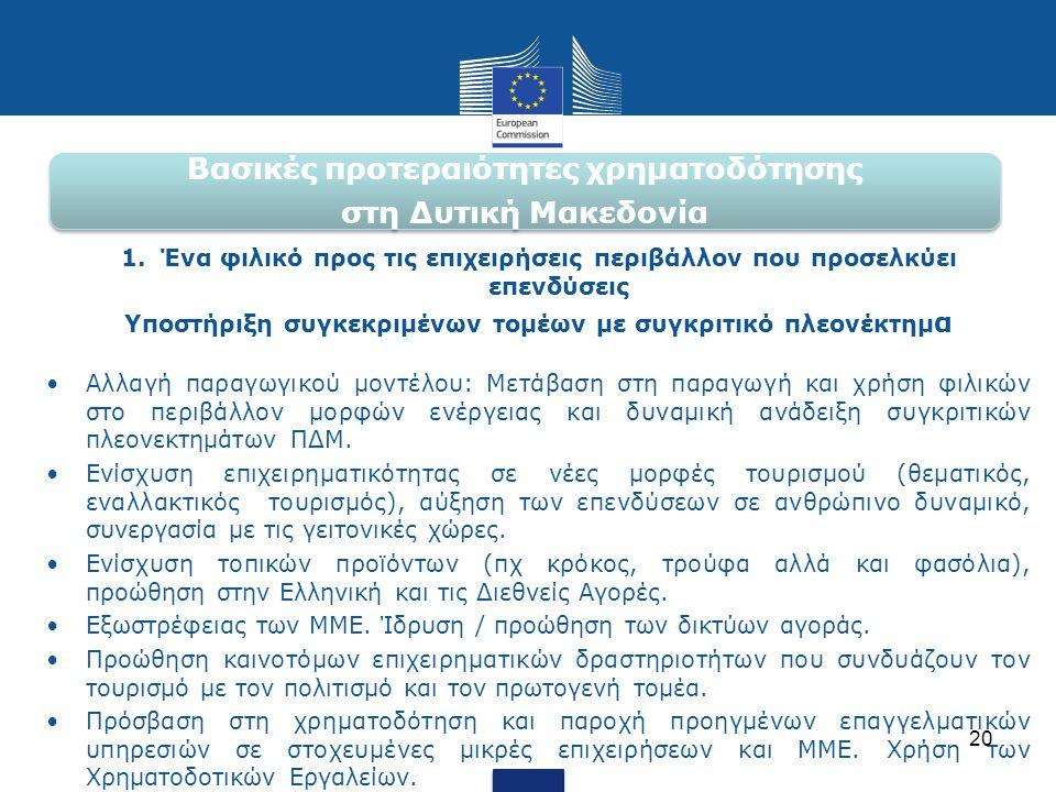 Βασικές προτεραιότητες χρηματοδότησης στη Δυτική Μακεδονία 1.Ένα φιλικό προς τις επιχειρήσεις περιβάλλον που προσελκύει επενδύσεις Υποστήριξη συγκεκρι