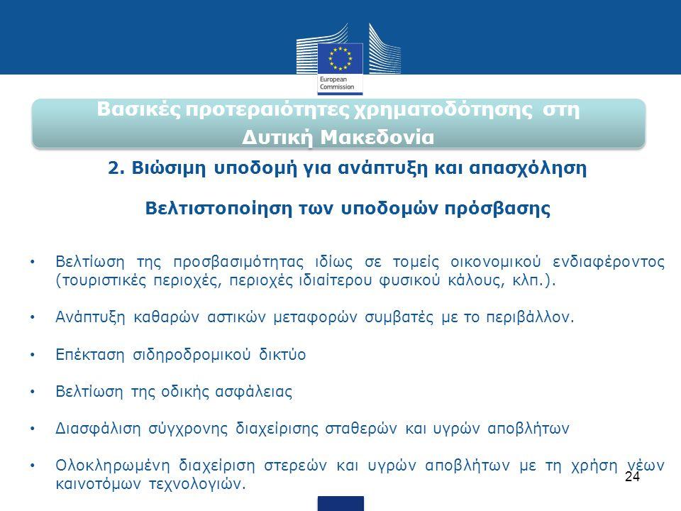 Βασικές προτεραιότητες χρηματοδότησης στη Δυτική Μακεδονία 2. Βιώσιμη υποδομή για ανάπτυξη και απασχόληση Βελτιστοποίηση των υποδομών πρόσβασης • Βελτ