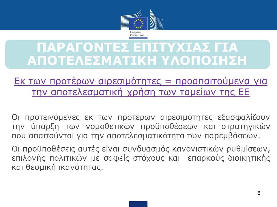 ΠΑΡΑΓΟΝΤΕΣ ΕΠΙΤΥΧΙΑΣ ΓΙΑ ΑΠΟΤΕΛΕΣΜΑΤΙΚΗ ΥΛΟΠΟΙΗΣΗ Εκ των προτέρων αιρεσιμότητες = προαπαιτούμενα για την αποτελεσματική χρήση των ταμείων της ΕΕ Οι πρ