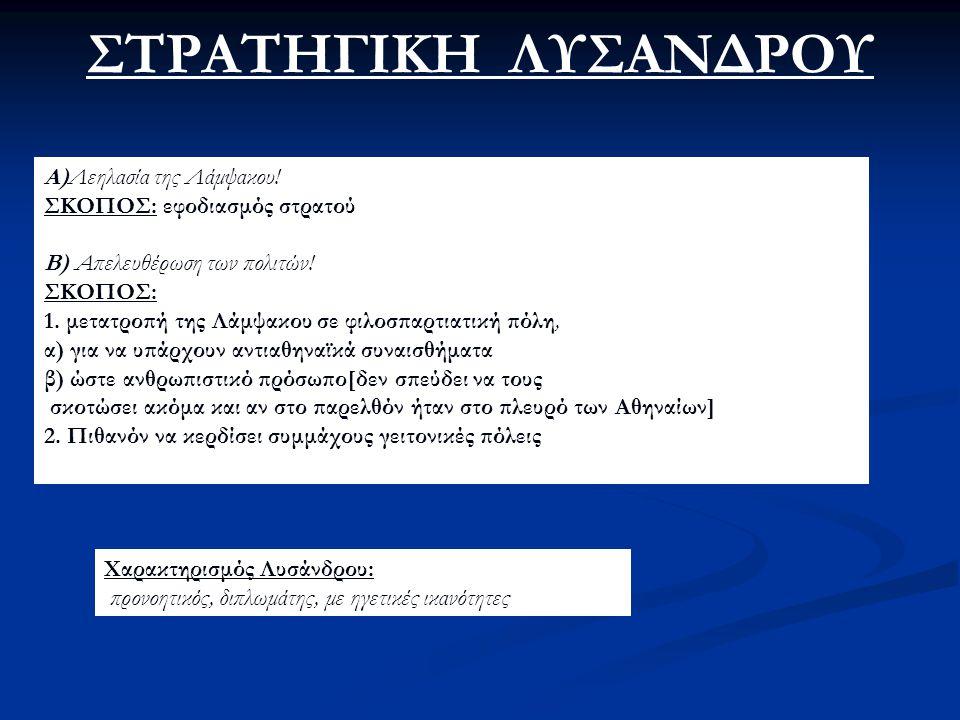 ΑΙΤΙΑ ΗΤΤΑΣ ΑΘΗΝΑΙΩΝ Τα κράτη της Ασίας ήταν όλα εχθρικά προς την Αθήνα. α)δύσκολος ανεφοδιασμός β)ενίσχυση του Σπαρτιατικού στρατού(από τους Ασιάτες)